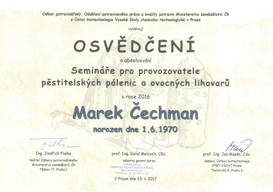 Osvědčení - Marek Čechman