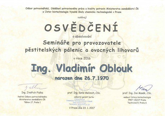 Osvědčení - Ing. Vladimír Oblouk